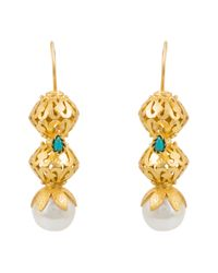 Kastur Jewels | Metallic Heritage Pearl & Turquoise Earrings | Lyst