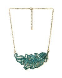 Forever 21 | Green Down To Earth Feather Necklace | Lyst