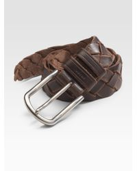 Prada | Brown Cuoio Braided Leather Belt for Men | Lyst