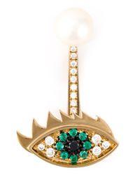 Delfina Delettrez | Green 'eyes On Me Piercing' Emerald And Diamond Earring | Lyst