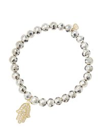 Sydney Evan White 6mm Faceted Silver Pyrite Beaded Bracelet With 14k Yellow Gold/diamond Medium Hamsa Charm (made To Order)