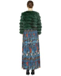 Alice + Olivia | Green Cropped Fox and Rabbit-Fur Jacket | Lyst