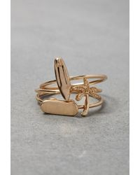 Forever 21 | Metallic Flash Trash Board And Palm Tree Ring Set | Lyst