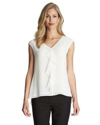 Cece by Cynthia Steffe | Natural Ruffle Front V-neck Blouse | Lyst