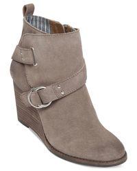 Lucky Brand Gray Women's Yerik Buckle Wedge Booties