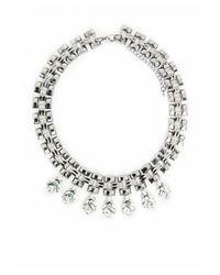 Missguided - Metallic Statement Gem Woven Chain Collar Silver - Lyst