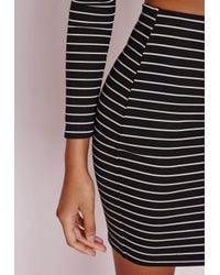 Missguided - Black Stripe Mini Skirt Monochrome - Lyst