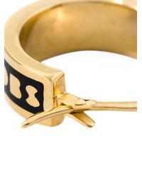 Marc By Marc Jacobs - Black Enamel Logo Mini Hoop Earrings - Lyst