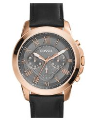 Fossil Black 'grant' Round Chronograph Leather Strap Watch