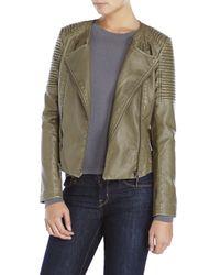 Raison D'etre - Green Faux Leather Double-Zip Moto Jacket - Lyst