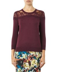 Erdem - Purple Manon Lace-insert Cashmere Sweater - Lyst