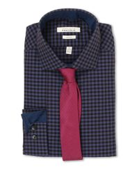 Perry Ellis - Blue Slim Fit Gingham Shirt for Men - Lyst