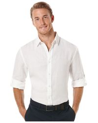 Perry Ellis | White Big And Tall Solid Linen Roll-tab Shirt for Men | Lyst