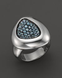 Roberto Coin | Sterling Silver Capri Plus Ring With Blue Topaz | Lyst