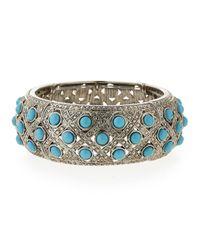 R.j. Graziano | Blue Cabochon Stretch Cuff Bracelet | Lyst