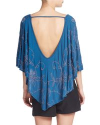 Free People | Blue Caped Floral Stitch Top | Lyst