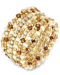 INC International Concepts | Metallic Gold-tone Multi Bead And Crystal Coil Bracelet | Lyst