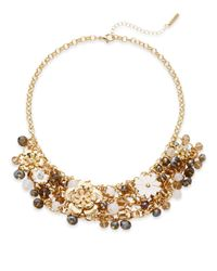 Saks Fifth Avenue - Metallic Jeweled Floral Statement Necklace - Lyst