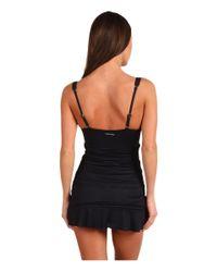 Calvin Klein - Black Solid Swimdress - Lyst