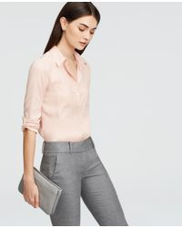 Ann Taylor | Pink Petite Silky Camp Shirt | Lyst