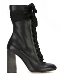 Chloé - Black Chunky Lace Booties - Lyst