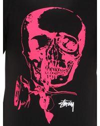 Stussy Black Skull & Rose Printed Cotton T-shirt for men