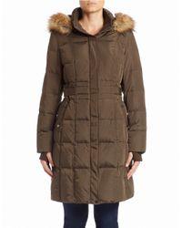 Jones New York Brown Faux Fur-trimmed Coat