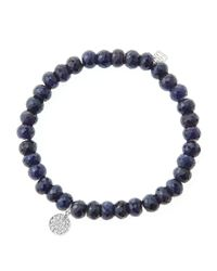 Sydney Evan | Blue 6Mm Faceted Sapphire Beaded Bracelet With Mini White Gold Pave Diamond Disc Charm (Made To Order) | Lyst