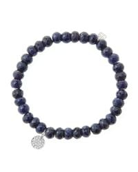 Sydney Evan | Metallic 6Mm Faceted Sapphire Beaded Bracelet With Mini White Gold Pave Diamond Disc Charm (Made To Order) | Lyst