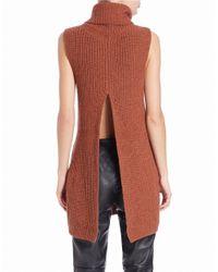 Free People | Brown Split-back Sleeveless Sweater | Lyst