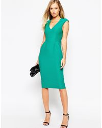 ASOS - Wiggle Dress With V Neck In Textured Jersey - Green - Lyst