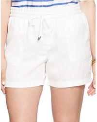 Lauren by Ralph Lauren White Plus Drapey Drawstring Shorts