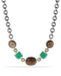 David Yurman Metallic Viridian Necklace With Smoky Quartz, Green Onyx, And Gold