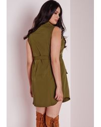 Missguided   Natural Plus Size Pocket Button Front Dress Khaki   Lyst