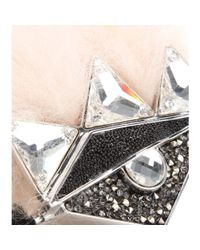 Fendi Metallic Crystal And Fox-Fur Embellished Double-Finger Ring