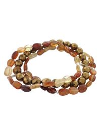 Lord & Taylor | Metallic Hessonite And Mixed Bead Layered Bracelet | Lyst