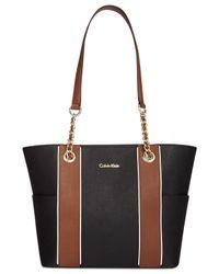 Calvin Klein Black Saffiano Leather Tote