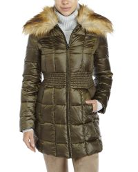 Laundry by Shelli Segal | Green Faux Fur Collar Down Coat | Lyst