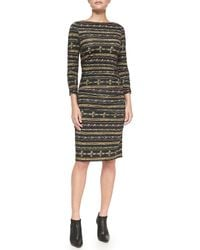 Nicole Miller Artelier | Black Gilded Striped Jersey Midi Dress | Lyst