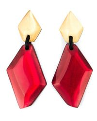 Monies | Red Resin Stone Oversized Clip-on Earrings | Lyst