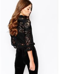 First & I | Black Lace Crop Top With High Neck | Lyst