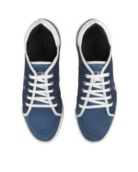 Jimmy Choo - Basil London Blue And Dark Sapphire Suede Low Top Trainers for Men - Lyst