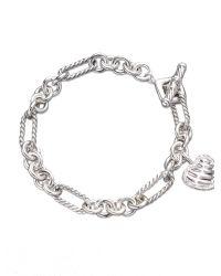 David Yurman | Metallic Cable Heart Charm Bracelet With Diamonds | Lyst