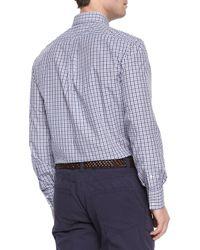 Brunello Cucinelli | Blue Tattersall-check Button-down Shirt for Men | Lyst