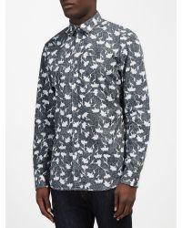 DIESEL Blue Shirt S-temari Slim Fit All Over Leaf Print for men