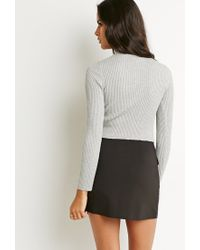 Forever 21 | Gray Mock Neck Ribbed Sweater | Lyst