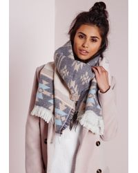 Missguided Gray Aztec Border Print Scarf Pink