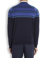 John Smedley Blue Navy Fair Isle Merino Wool Jumper for men