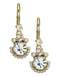 Kate Spade | White Gold-Tone Palace Gem Faux Pearl And Crystal Drop Earrings | Lyst