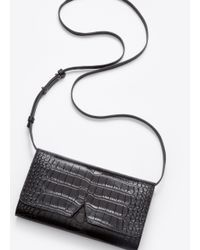 Vince Black Signature Collection Stamped Croc Multifunction Pouch